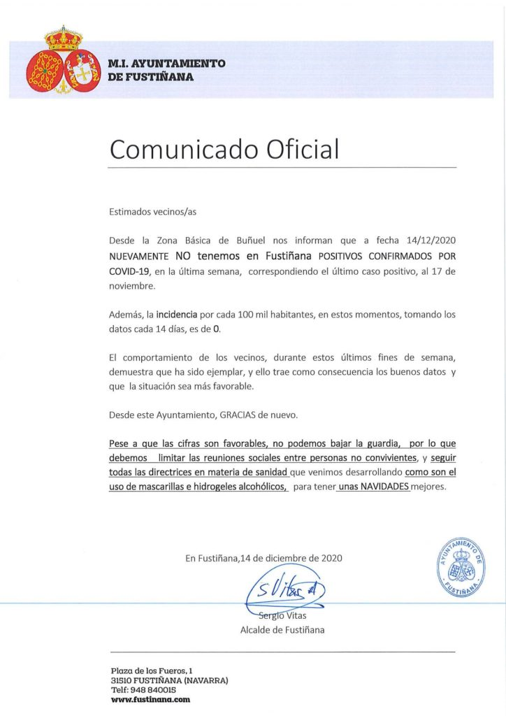 Comunicado oficial sobre datos Covid-19 a fecha 14 de Diciembre